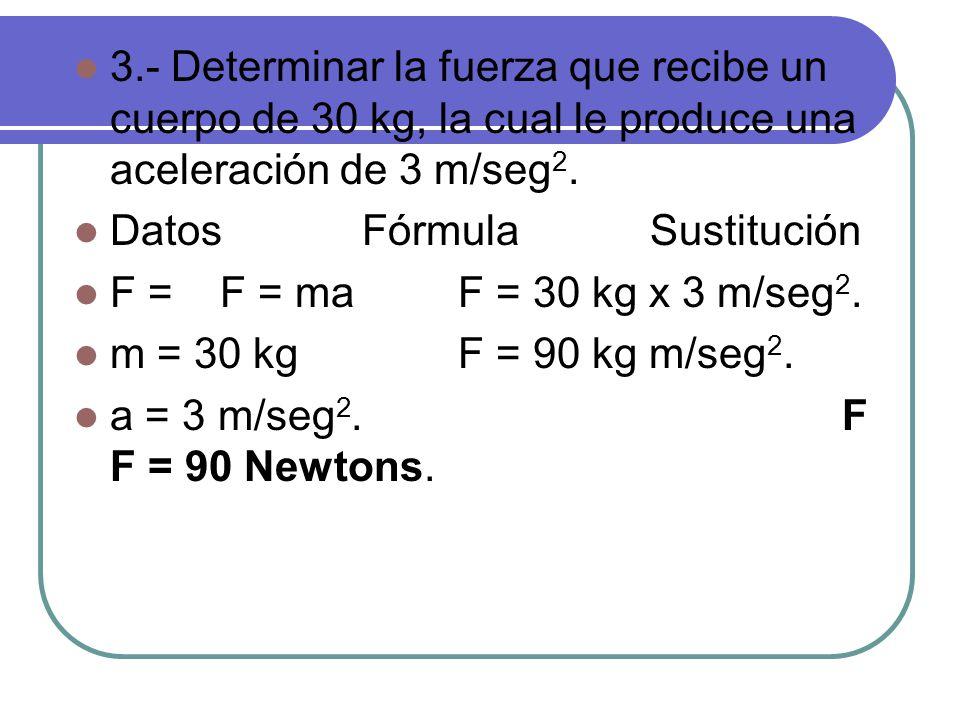 3.- Determinar la fuerza que recibe un cuerpo de 30 kg, la cual le produce una aceleración de 3 m/seg 2.