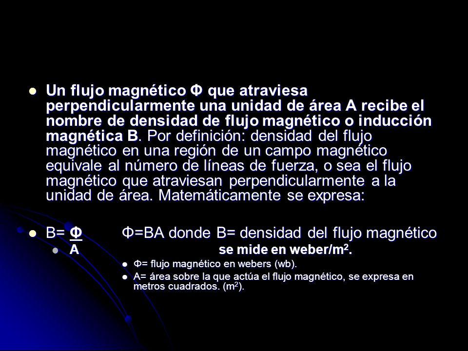 Un flujo magnético Φ que atraviesa perpendicularmente una unidad de área A recibe el nombre de densidad de flujo magnético o inducción magnética B.
