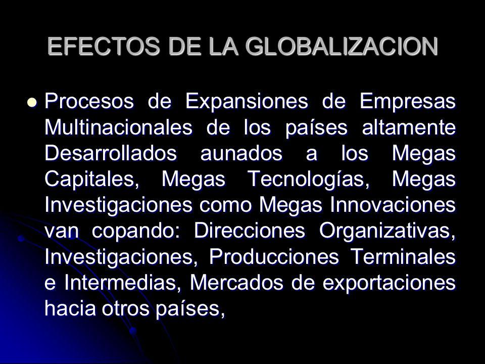 EFECTOS DE LA GLOBALIZACION Procesos de Expansiones de Empresas Multinacionales de los países altamente Desarrollados aunados a los Megas Capitales, M