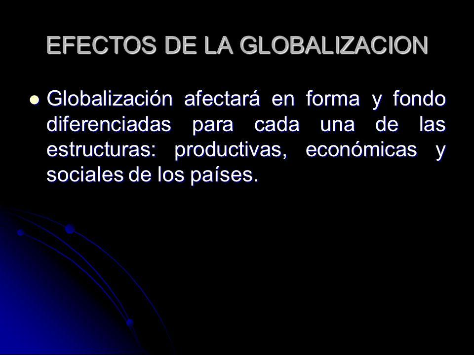 EFECTOS DE LA GLOBALIZACION Globalización afectará en forma y fondo diferenciadas para cada una de las estructuras: productivas, económicas y sociales