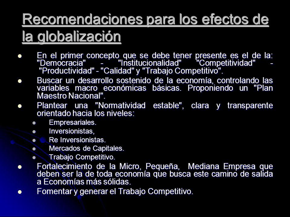 Recomendaciones para los efectos de la globalización En el primer concepto que se debe tener presente es el de la:
