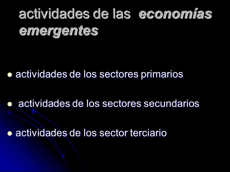 características de las economías emergentes : Sus Producciones están dadas en el sector primario.