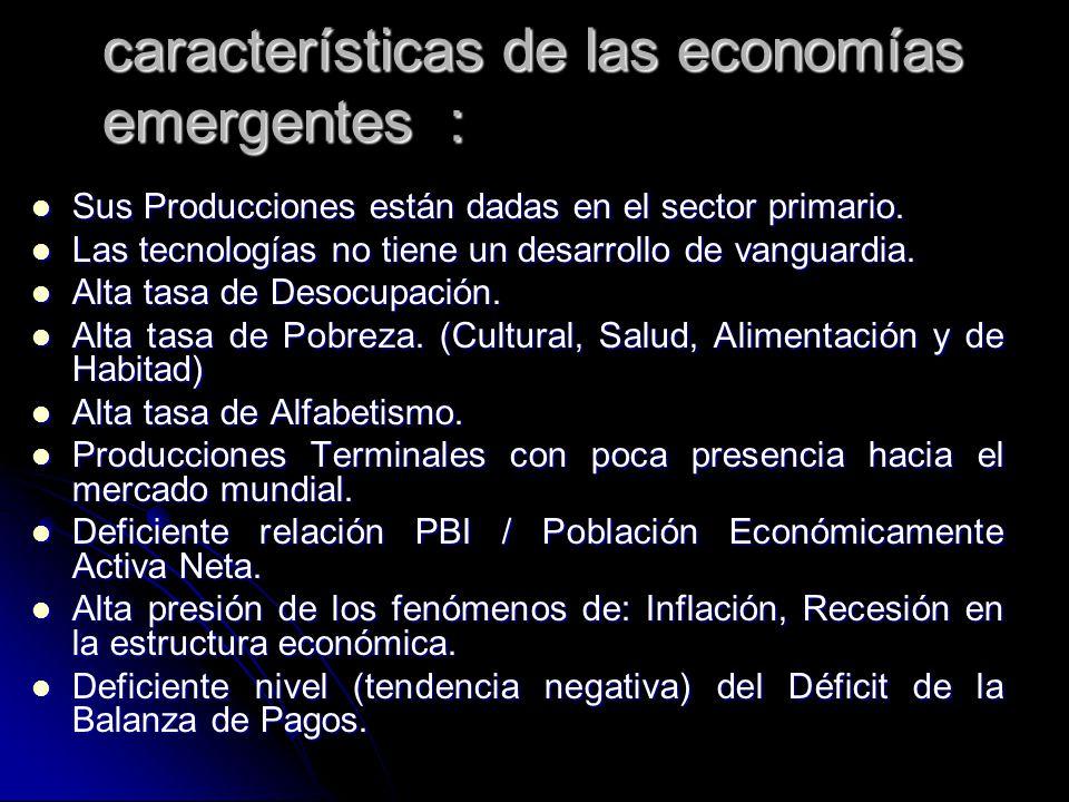 características de las economías emergentes : Sus Producciones están dadas en el sector primario. Sus Producciones están dadas en el sector primario.