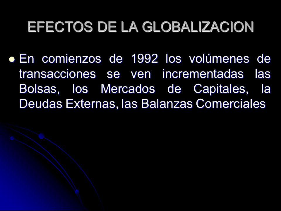 EFECTOS DE LA GLOBALIZACION En comienzos de 1992 los volúmenes de transacciones se ven incrementadas las Bolsas, los Mercados de Capitales, la Deudas