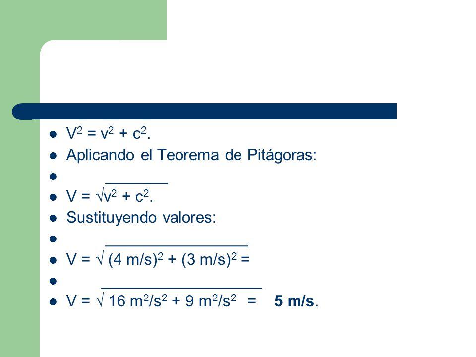 V 2 = v 2 + c 2. Aplicando el Teorema de Pitágoras: _______ V = v 2 + c 2. Sustituyendo valores: ________________ V = (4 m/s) 2 + (3 m/s) 2 = ________
