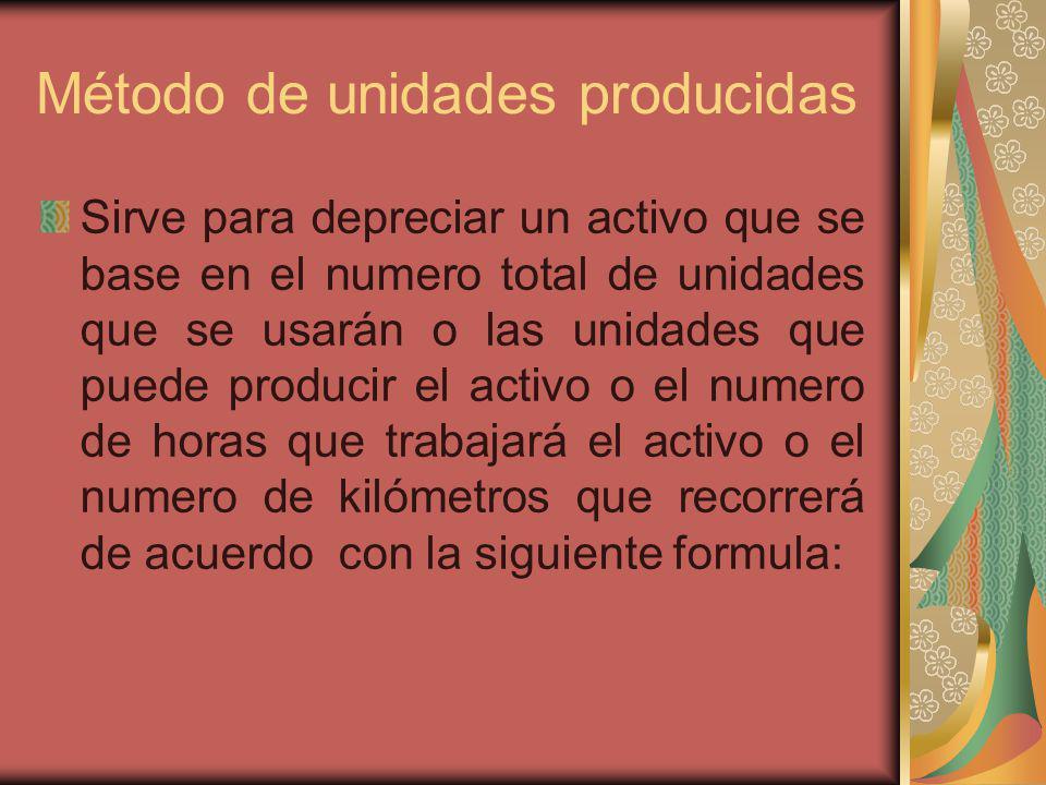 Método de unidades producidas Sirve para depreciar un activo que se base en el numero total de unidades que se usarán o las unidades que puede produci