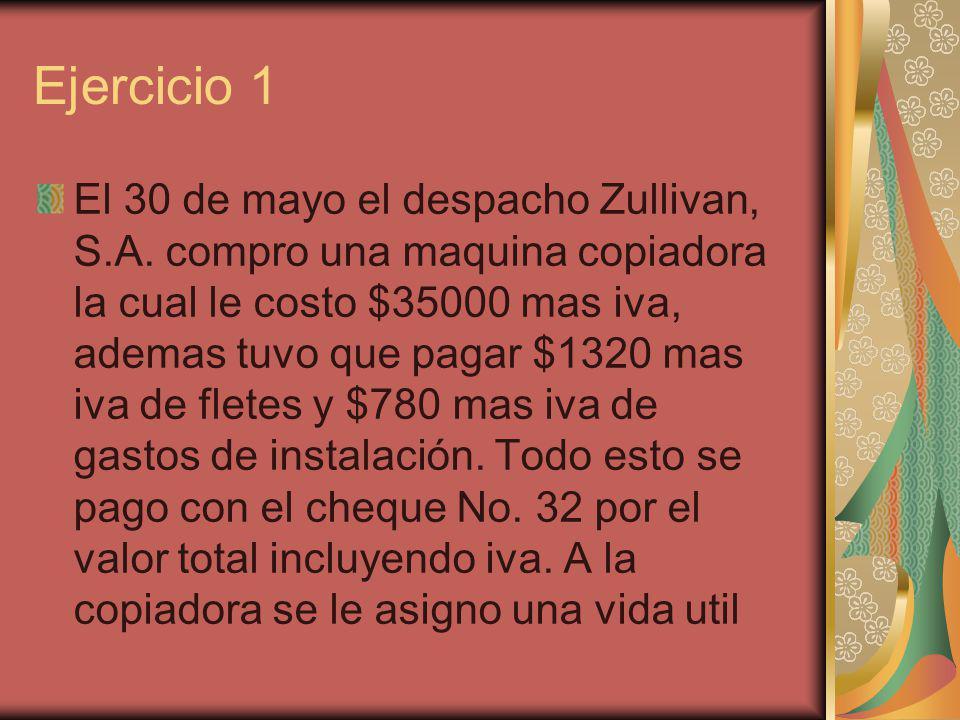 Ejercicio 1 El 30 de mayo el despacho Zullivan, S.A. compro una maquina copiadora la cual le costo $35000 mas iva, ademas tuvo que pagar $1320 mas iva