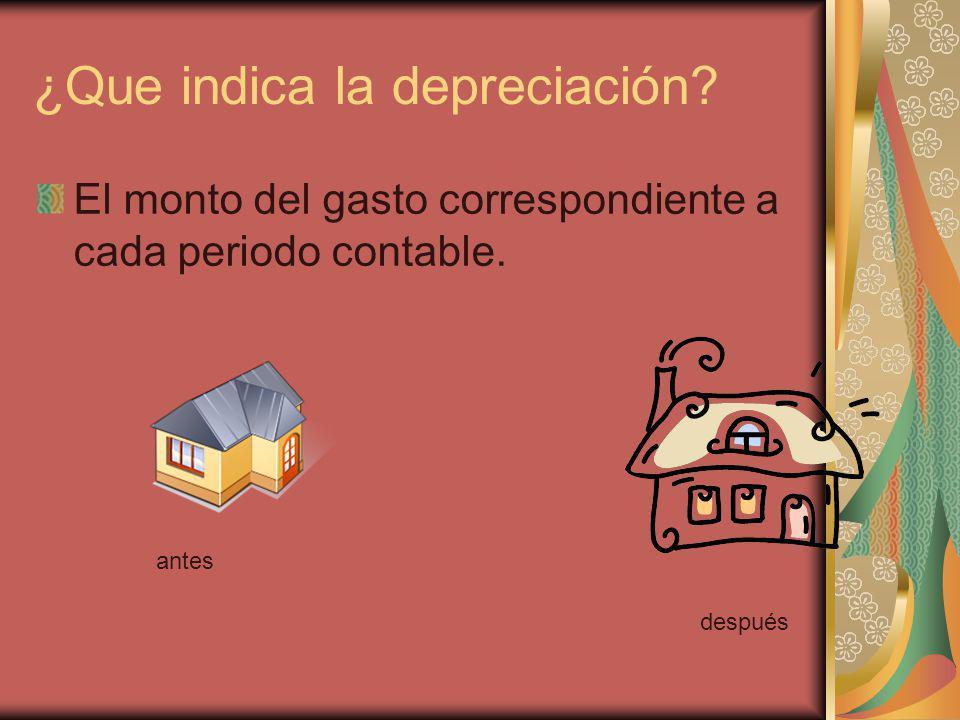 ¿Que indica la depreciación? El monto del gasto correspondiente a cada periodo contable. antes después