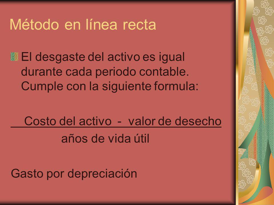 Método en línea recta El desgaste del activo es igual durante cada periodo contable. Cumple con la siguiente formula: Costo del activo - valor de dese