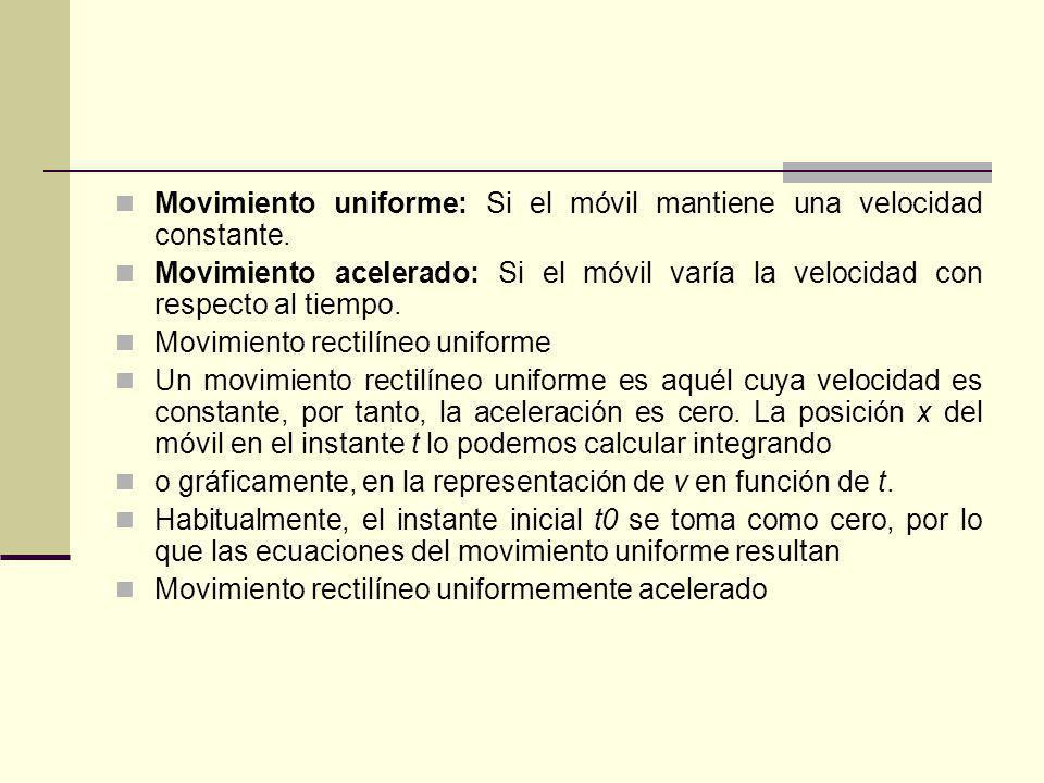 Movimiento uniforme: Si el móvil mantiene una velocidad constante. Movimiento acelerado: Si el móvil varía la velocidad con respecto al tiempo. Movimi
