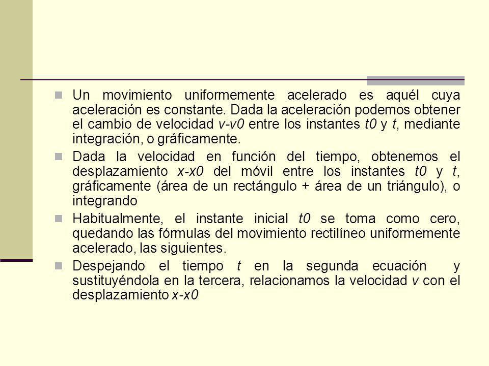Un movimiento uniformemente acelerado es aquél cuya aceleración es constante. Dada la aceleración podemos obtener el cambio de velocidad v-v0 entre lo