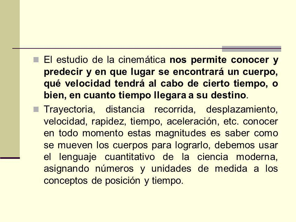 El estudio de la cinemática nos permite conocer y predecir y en que lugar se encontrará un cuerpo, qué velocidad tendrá al cabo de cierto tiempo, o bi