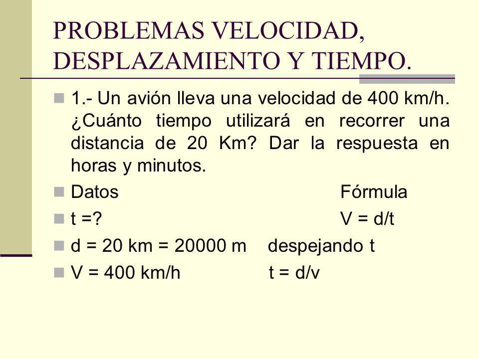 PROBLEMAS VELOCIDAD, DESPLAZAMIENTO Y TIEMPO. 1.- Un avión lleva una velocidad de 400 km/h. ¿Cuánto tiempo utilizará en recorrer una distancia de 20 K