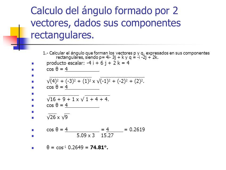 Calculo del ángulo formado por 2 vectores, dados sus componentes rectangulares. 1.- Calcular el ángulo que forman los vectores p y q, expresados en su