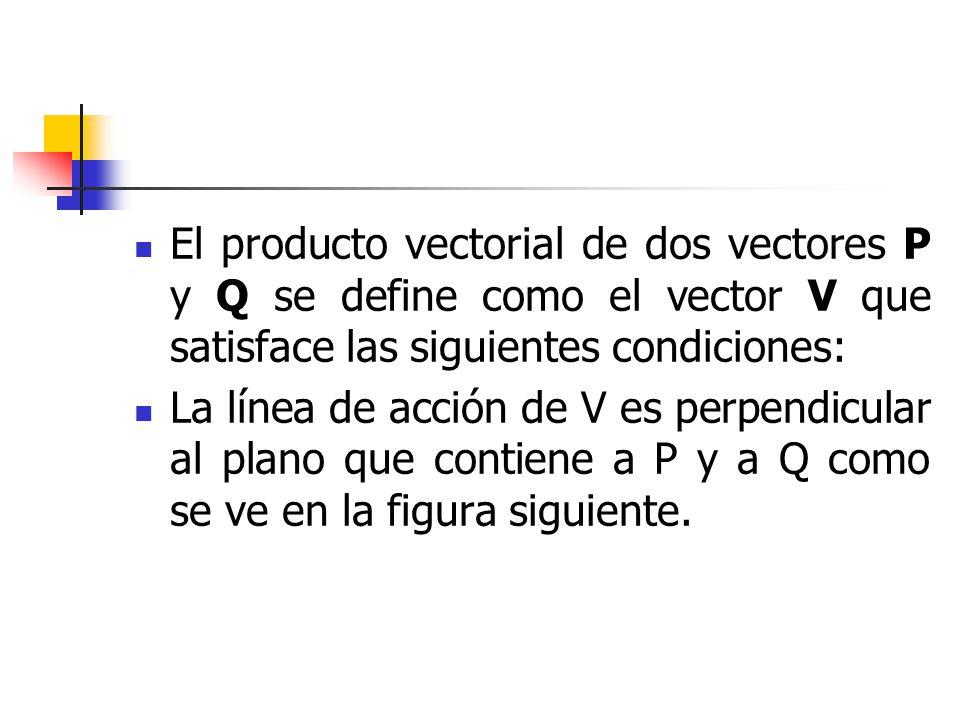El producto vectorial de dos vectores P y Q se define como el vector V que satisface las siguientes condiciones: La línea de acción de V es perpendicu