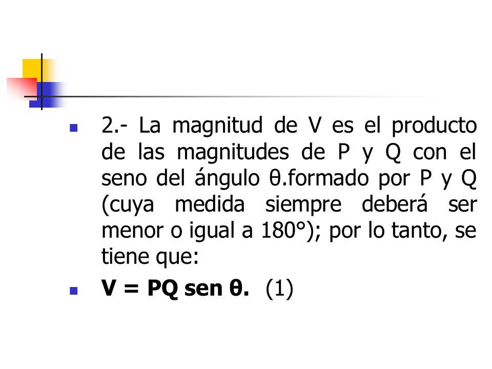 2.- La magnitud de V es el producto de las magnitudes de P y Q con el seno del ángulo θ.formado por P y Q (cuya medida siempre deberá ser menor o igua