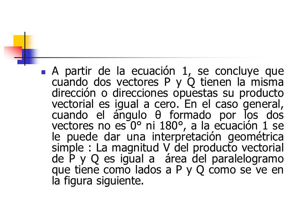 A partir de la ecuación 1, se concluye que cuando dos vectores P y Q tienen la misma dirección o direcciones opuestas su producto vectorial es igual a
