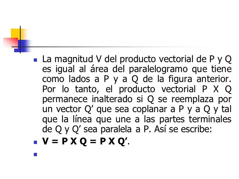 La magnitud V del producto vectorial de P y Q es igual al área del paralelogramo que tiene como lados a P y a Q de la figura anterior. Por lo tanto, e