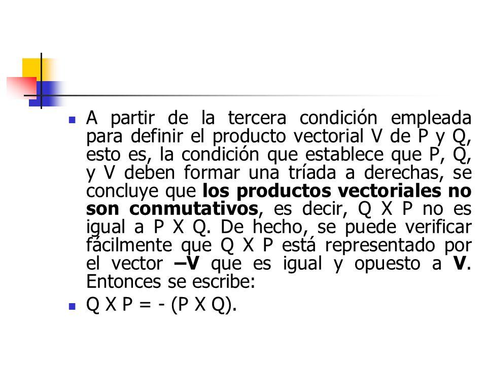 A partir de la tercera condición empleada para definir el producto vectorial V de P y Q, esto es, la condición que establece que P, Q, y V deben forma