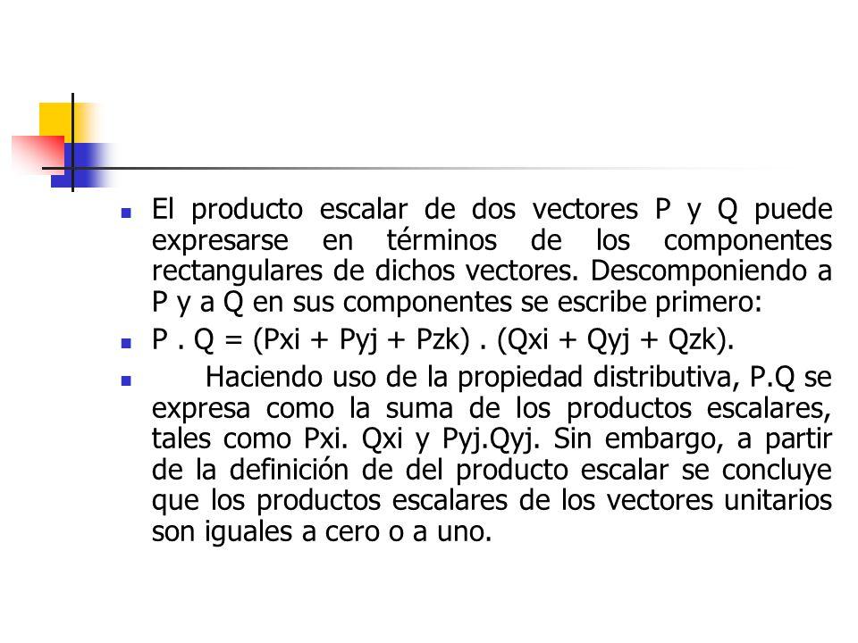 El producto escalar de dos vectores P y Q puede expresarse en términos de los componentes rectangulares de dichos vectores. Descomponiendo a P y a Q e