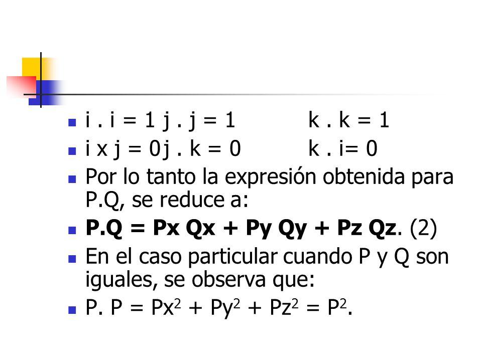 i. i = 1j. j = 1k. k = 1 i x j = 0j. k = 0k. i= 0 Por lo tanto la expresión obtenida para P.Q, se reduce a: P.Q = Px Qx + Py Qy + Pz Qz. (2) En el cas