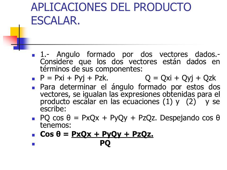 APLICACIONES DEL PRODUCTO ESCALAR. 1.- Angulo formado por dos vectores dados.- Considere que los dos vectores están dados en términos de sus component