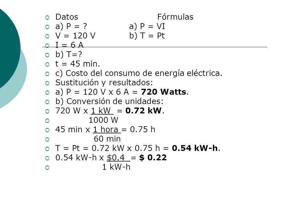 DatosFórmulas a) P = ?a) P = VI V = 120 Vb) T = Pt I = 6 A b) T=? t = 45 min. c) Costo del consumo de energía eléctrica. Sustitución y resultados: a)