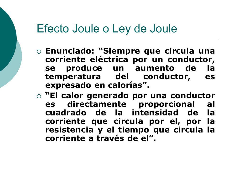Efecto Joule o Ley de Joule Enunciado: Siempre que circula una corriente eléctrica por un conductor, se produce un aumento de la temperatura del condu