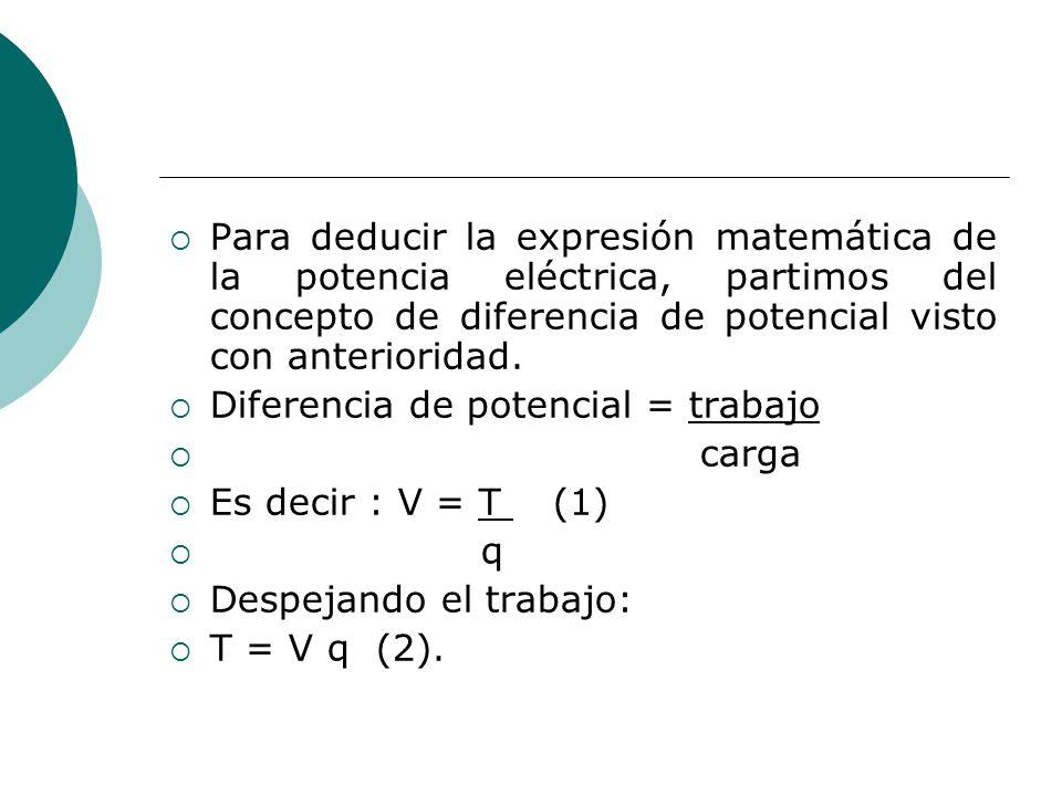 Para deducir la expresión matemática de la potencia eléctrica, partimos del concepto de diferencia de potencial visto con anterioridad. Diferencia de