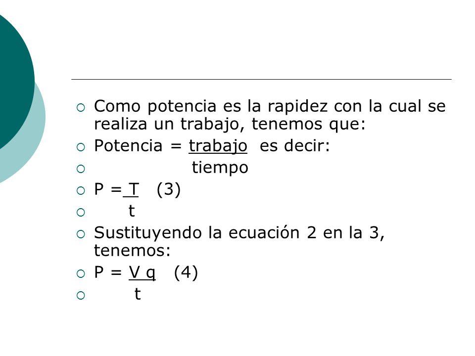 Como potencia es la rapidez con la cual se realiza un trabajo, tenemos que: Potencia = trabajo es decir: tiempo P = T (3) t Sustituyendo la ecuación 2