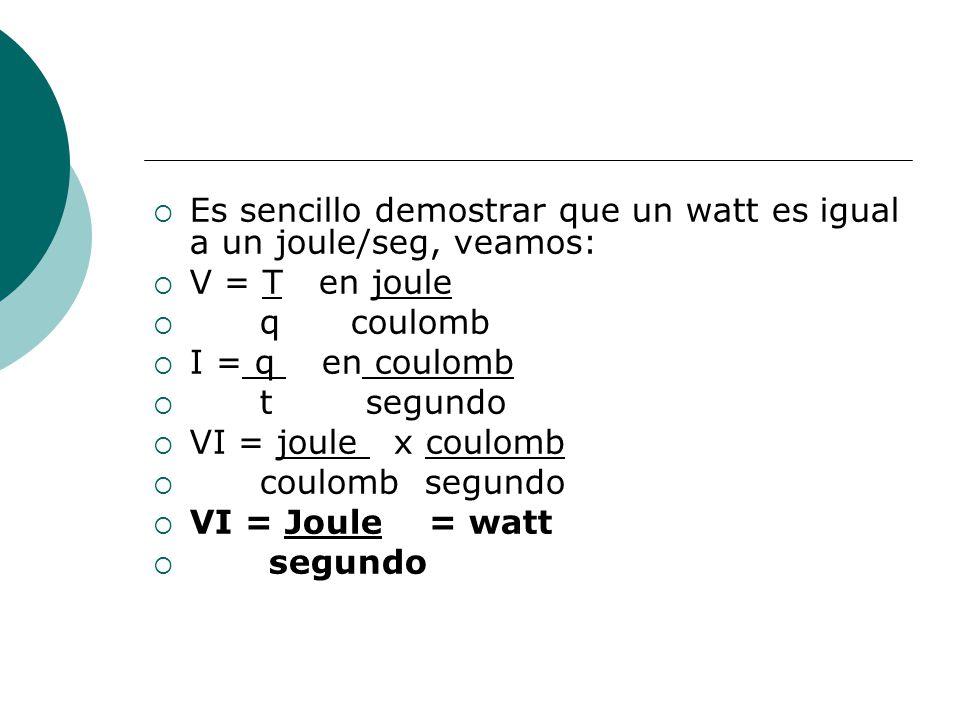 Es sencillo demostrar que un watt es igual a un joule/seg, veamos: V = T en joule q coulomb I = q en coulomb t segundo VI = joule x coulomb coulomb se