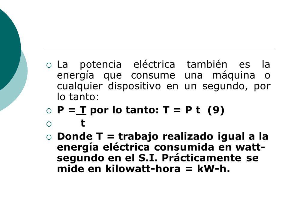 La potencia eléctrica también es la energía que consume una máquina o cualquier dispositivo en un segundo, por lo tanto: P = T por lo tanto: T = P t (