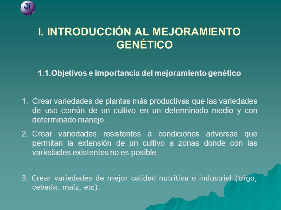 I. INTRODUCCIÓN AL MEJORAMIENTO GENÉTICO 1.1.Objetivos e importancia del mejoramiento genético 1.Crear variedades de plantas más productivas que las v