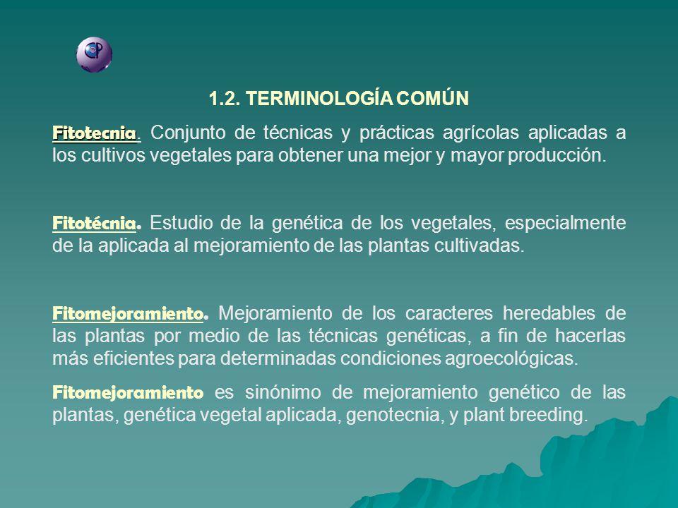 1.2. TERMINOLOGÍA COMÚN Fitotecnia Fitotecnia. Conjunto de técnicas y prácticas agrícolas aplicadas a los cultivos vegetales para obtener una mejor y