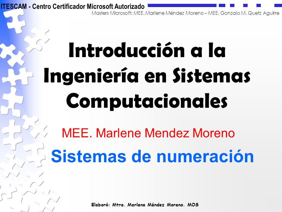Elaboró: Mtra. Marlene Méndez Moreno. MOS Masters Microsoft: MEE. Marlene Méndez Moreno – MEE. Gonzalo M. Quetz Aguirre Introducción a la Ingeniería e