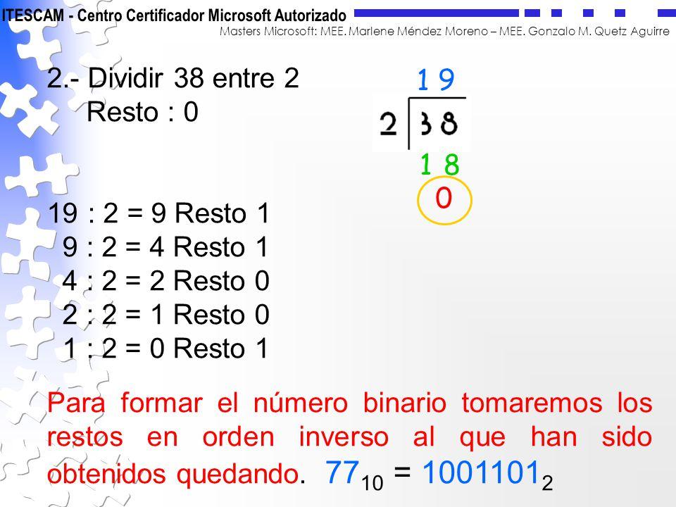 Masters Microsoft: MEE. Marlene Méndez Moreno – MEE. Gonzalo M. Quetz Aguirre 2.- Dividir 38 entre 2 Resto : 0 19 : 2 = 9 Resto 1 9 : 2 = 4 Resto 1 4