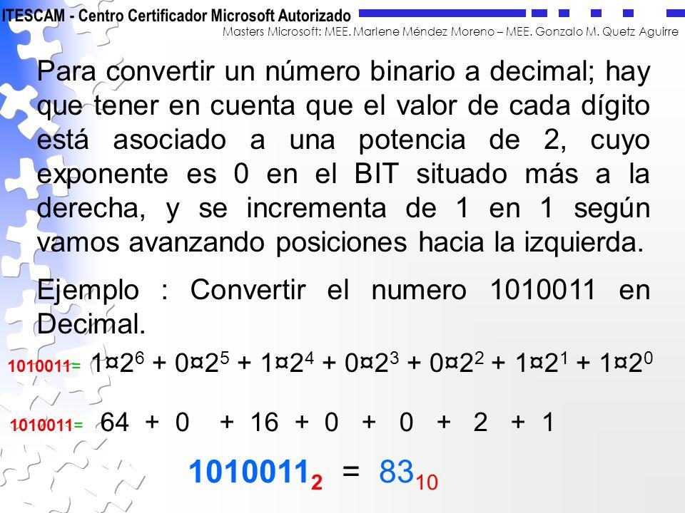 Masters Microsoft: MEE. Marlene Méndez Moreno – MEE. Gonzalo M. Quetz Aguirre Para convertir un número binario a decimal; hay que tener en cuenta que