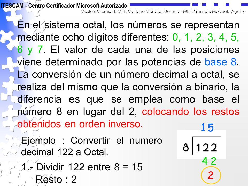 Masters Microsoft: MEE. Marlene Méndez Moreno – MEE. Gonzalo M. Quetz Aguirre En el sistema octal, los números se representan mediante ocho dígitos di