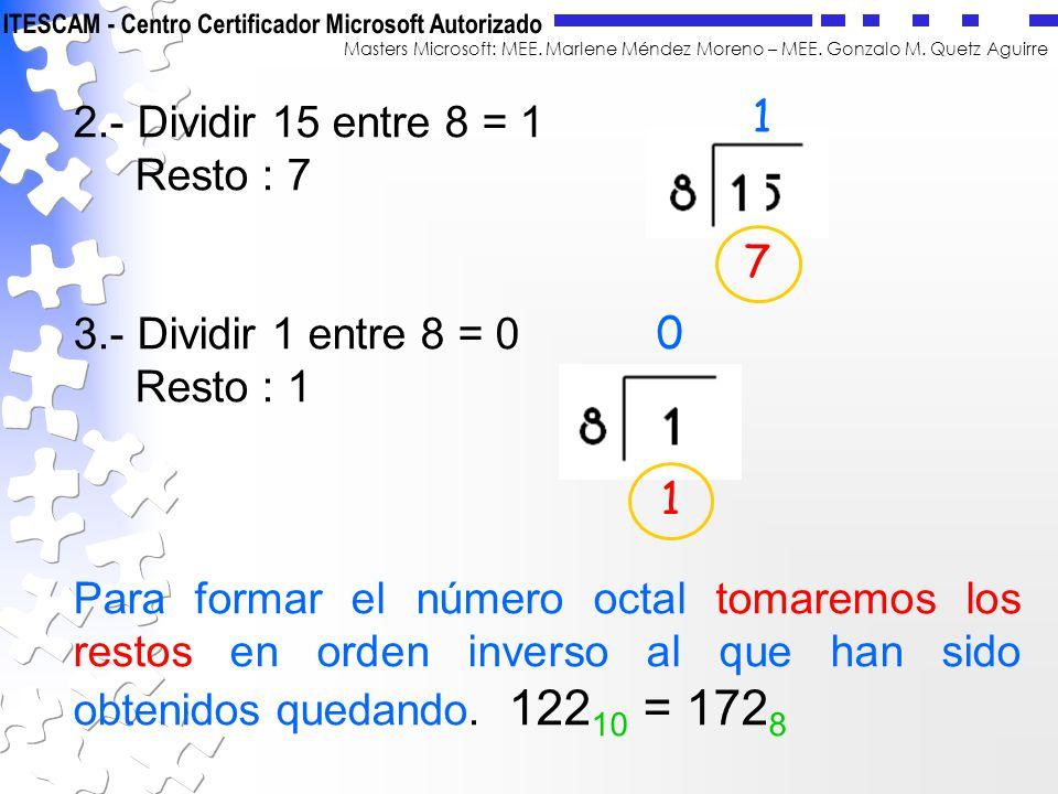 Masters Microsoft: MEE. Marlene Méndez Moreno – MEE. Gonzalo M. Quetz Aguirre 2.- Dividir 15 entre 8 = 1 Resto : 7 3.- Dividir 1 entre 8 = 0 Resto : 1
