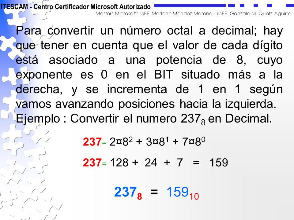 Masters Microsoft: MEE. Marlene Méndez Moreno – MEE. Gonzalo M. Quetz Aguirre Para convertir un número octal a decimal; hay que tener en cuenta que el
