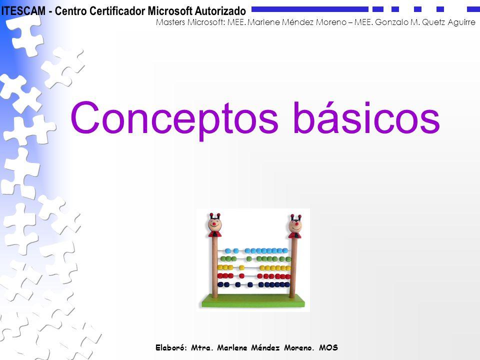 Elaboró: Mtra. Marlene Méndez Moreno. MOS Masters Microsoft: MEE. Marlene Méndez Moreno – MEE. Gonzalo M. Quetz Aguirre Conceptos básicos