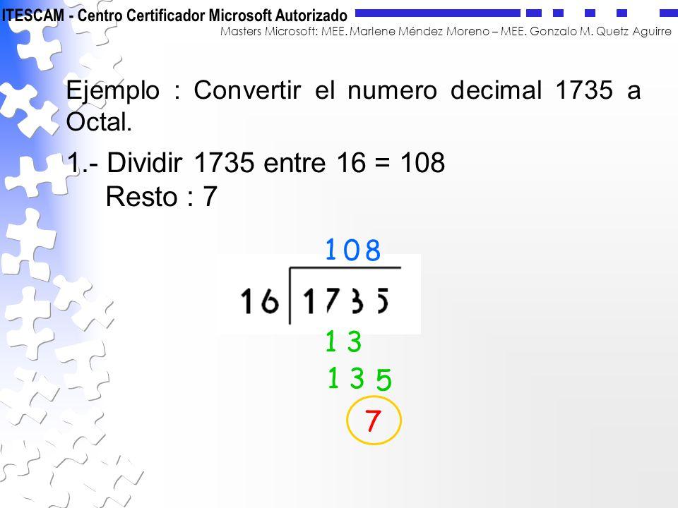 Masters Microsoft: MEE. Marlene Méndez Moreno – MEE. Gonzalo M. Quetz Aguirre Ejemplo : Convertir el numero decimal 1735 a Octal. 1.- Dividir 1735 ent