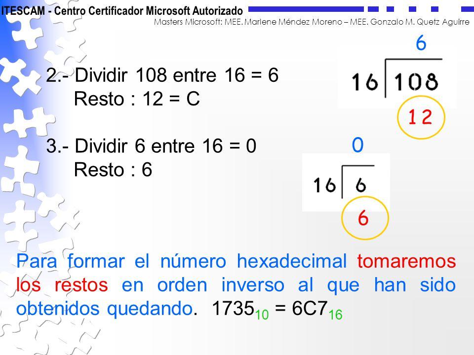 Masters Microsoft: MEE. Marlene Méndez Moreno – MEE. Gonzalo M. Quetz Aguirre 2.- Dividir 108 entre 16 = 6 Resto : 12 = C 6 12 3.- Dividir 6 entre 16