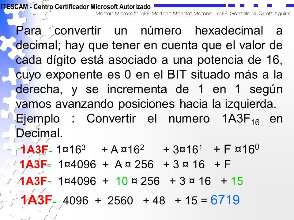 Masters Microsoft: MEE. Marlene Méndez Moreno – MEE. Gonzalo M. Quetz Aguirre Para convertir un número hexadecimal a decimal; hay que tener en cuenta