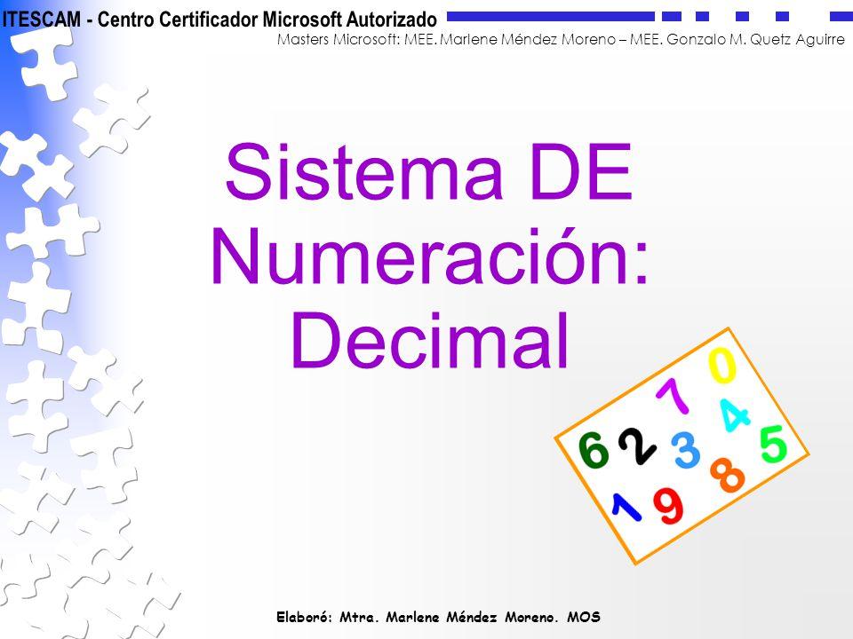 Elaboró: Mtra. Marlene Méndez Moreno. MOS Masters Microsoft: MEE. Marlene Méndez Moreno – MEE. Gonzalo M. Quetz Aguirre Sistema DE Numeración: Decimal