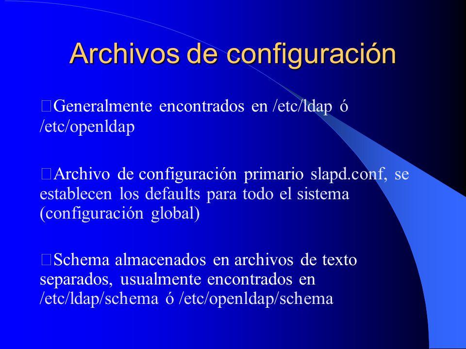 Archivos de configuración Generalmente encontrados en /etc/ldap ó /etc/openldap Archivo de configuración primario slapd.conf, se establecen los defaults para todo el sistema (configuración global) Schema almacenados en archivos de texto separados, usualmente encontrados en /etc/ldap/schema ó /etc/openldap/schema