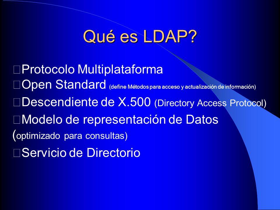 Servers Slapd * Stand alone LDAP server Slurpd * Directory Replication Server (sólo necesario cuando se trabaja con múltiples servers)