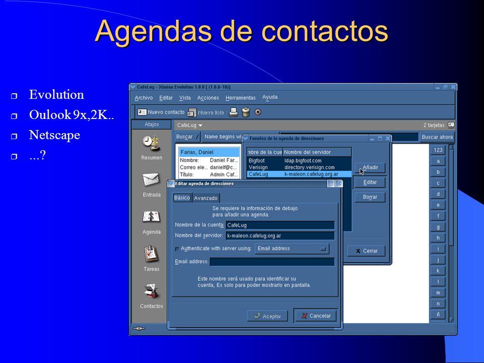 Agendas de contactos Evolution Oulook 9x,2K.. Netscape...?