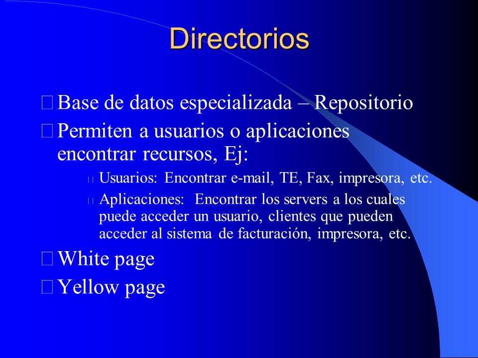 Directorios Base de datos especializada – Repositorio Permiten a usuarios o aplicaciones encontrar recursos, Ej: Usuarios: Encontrar e-mail, TE, Fax, impresora, etc.