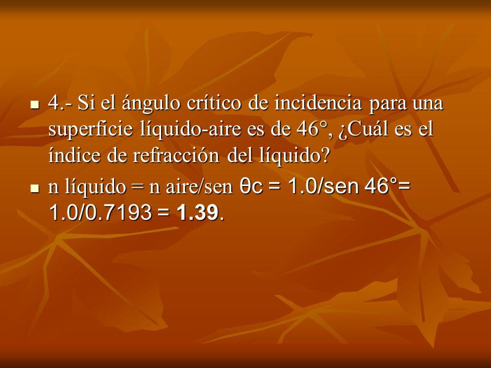 4.- Si el ángulo crítico de incidencia para una superficie líquido-aire es de 46°, ¿Cuál es el índice de refracción del líquido? 4.- Si el ángulo crít